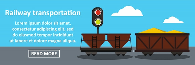 Spoorweg transport banner horizontaal concept