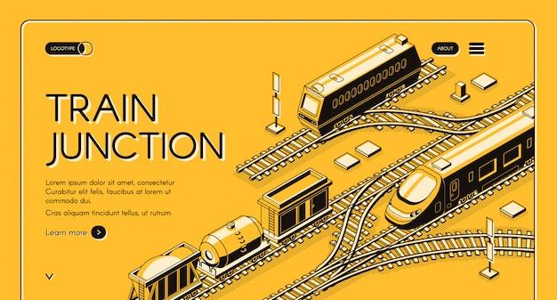 Spoorweg transportbedrijf webbanner of bestemmingspagina sjabloon met vracht diesel
