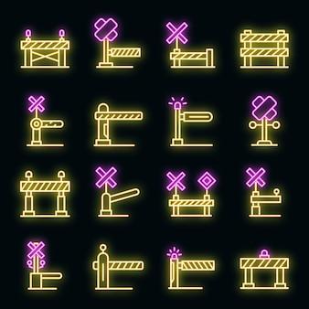 Spoorwegbarrière pictogrammen instellen vector neon