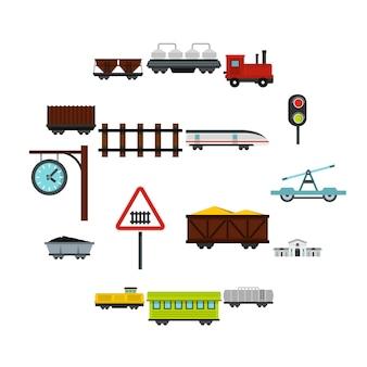 Spoorwegen instellen plat pictogrammen
