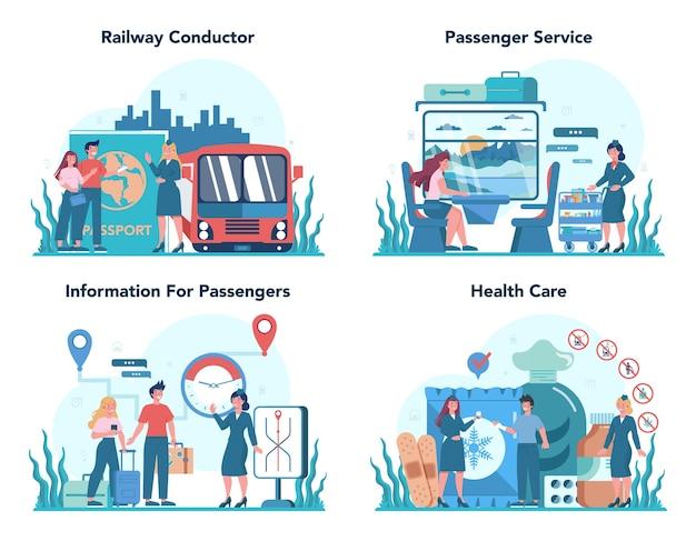Spoorwegleider concept. spoorwegarbeider in dienst uniform. trein