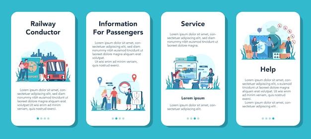 Spoorwegleider mobiele applicatie banner set. spoorwegarbeider in dienst uniform. treinconducteur helpt passagier op reis. reizen met de trein.