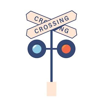 Spoorwegovergang teken en verkeerslichten pictogram geïsoleerd op een witte achtergrond. treinstation, kruispuntsymbool voor locomotiefvoertuig, transportnavigatieapparatuur. cartoon vectorillustratie
