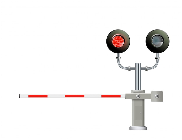 Spoorwegverkeerslicht, barrière. eenvoudige moderne illustratie.