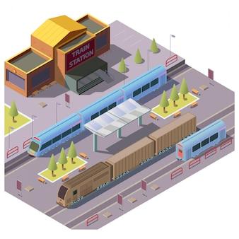 Spoorwegvervoer op het treinstation