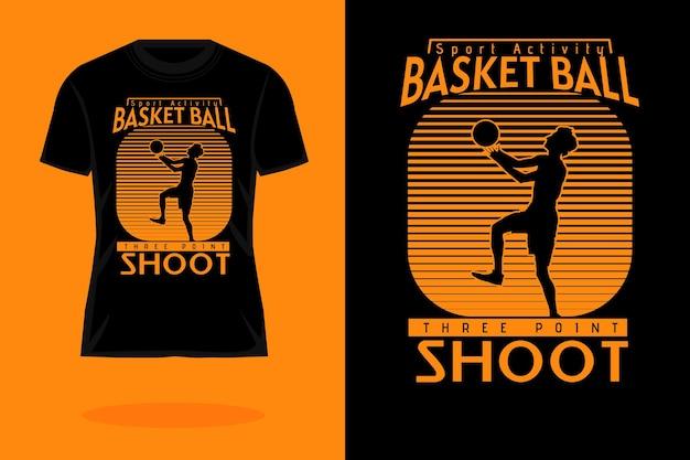 Sport activiteit basketbal silhouet vintage t-shirt ontwerp