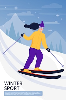 Sport activiteit illustratie met skiër.