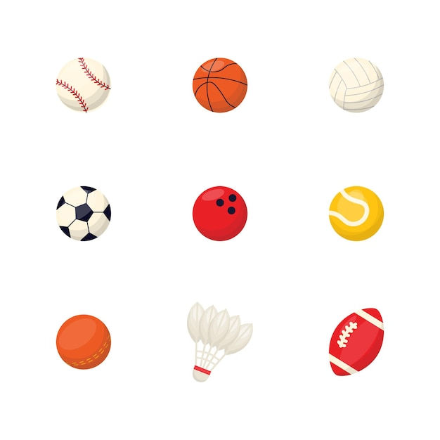 Sport apparatuur cartoon ballen set basketbal bal tennis rugby socker bowling ping pong volleybal shuttle