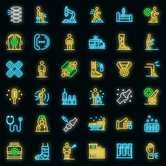 Sport arts pictogrammen instellen. overzicht set van sport arts vector iconen neon kleur op zwart