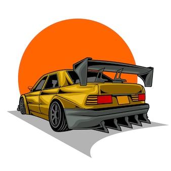 Sport auto illustratie wijziging Premium Vector