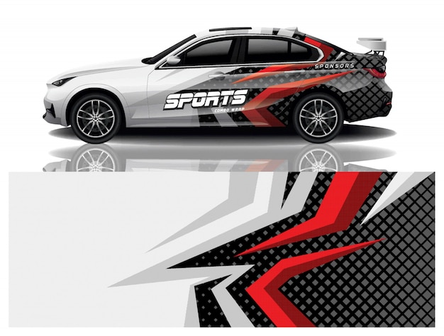 Sport auto sticker wrap ontwerp vector