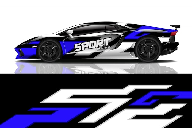 Sport auto sticker wrap ontwerp