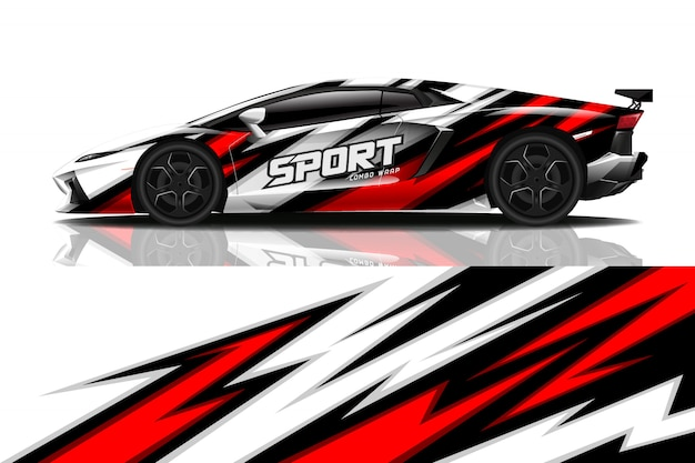Sport auto wrap sticker ontwerp