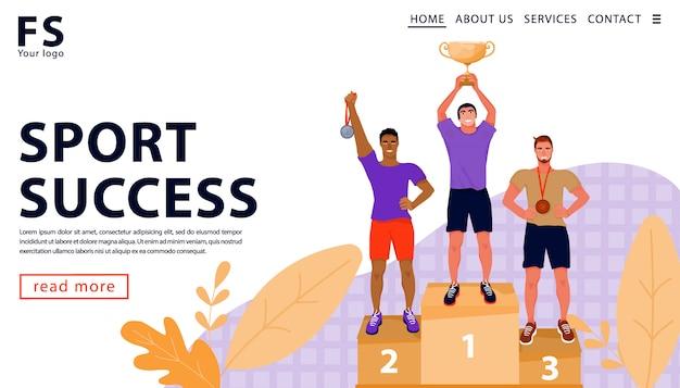 Sport award concept van de ceremonie van het toekennen van trofee. winnaars op het podium met beker en medailles. bestemmingspaginasjabloon. platte vectorillustratie
