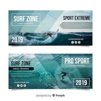 Sport banners sjabloon met foto