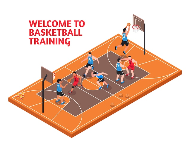 Sport basketbal training isometrisch Gratis Vector