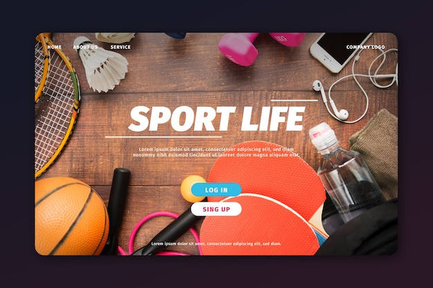 Sport bestemmingspagina sjabloon met foto