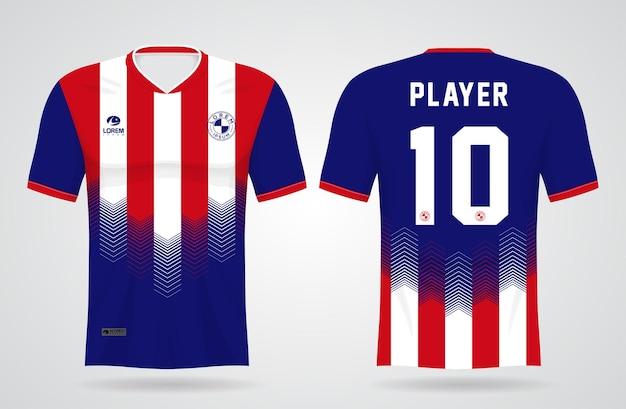 Sport blauwe en rode trui sjabloon voor teamuniformen en voetbal t-shirtontwerp
