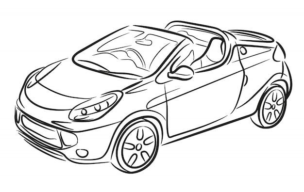 Sport cabrio hand getrokken. auto schets.