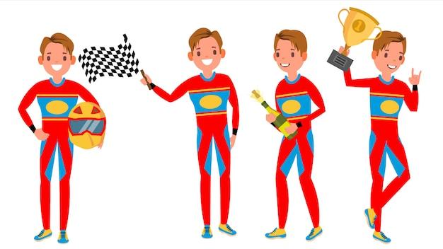 Sport car racer jonge man