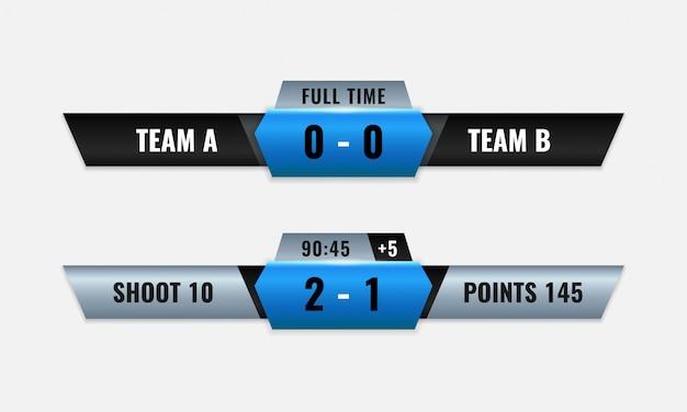 Sport competitie scorebord vector ontwerp voor lagere derde televisie-uitzending grafische sjabloon