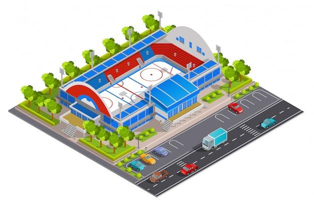 Sport complex stadium isometrische banner