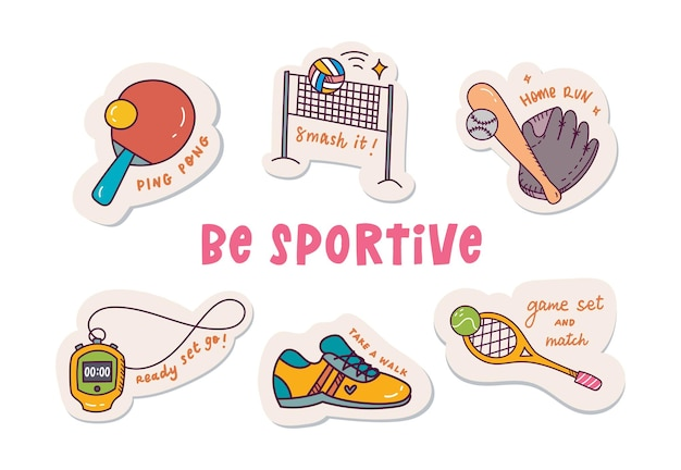 Sport concept cute cartoon sticker