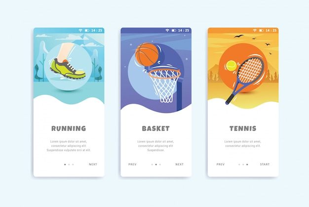 Sport concept onboarding schermen user interface kit sjabloon