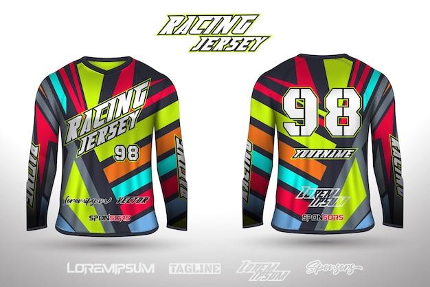 Sport design jersey voor voetbal racen wielrennen gaming jersey premium vector
