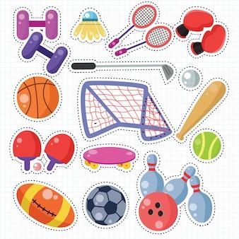 Sport doodle sticker patches set