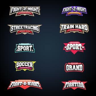 Sport embleem typografie set