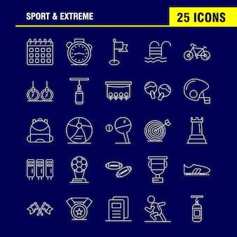 Sport en extreme lijnpictogrammen
