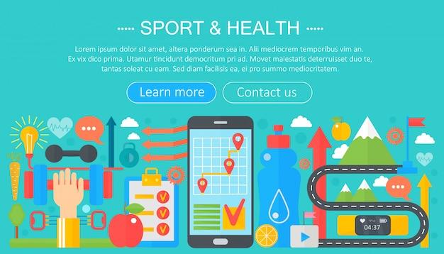 Sport en fitness platte infographics sjabloon