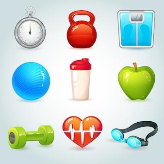 Sport en fitness realistische elementen geplaatst geïsoleerde vectorillustratie