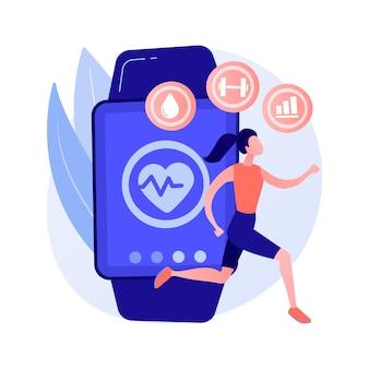 Sport en fitness tracker abstract concept vectorillustratie. activiteitenband, gezondheidsmonitor, apparaat om de pols, toepassing voor hardlopen, fietsen en dagelijkse training abstracte metafoor.
