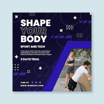 Sport en tech kwadraat flyer-sjabloon