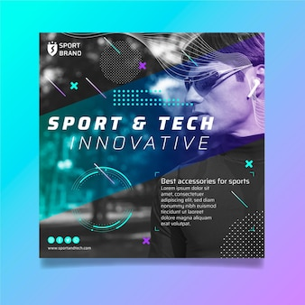 Sport en tech kwadraat flyer