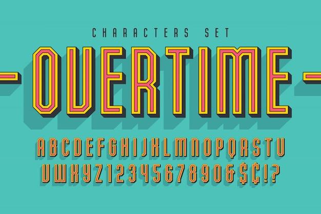 Sport en techno weergeven lettertype 3d-ontwerp, alfabet, letters en cijfers