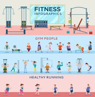 Sport fitness horizontale banners