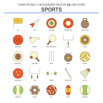 Sport flat line icon set