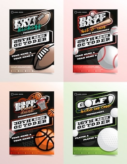 Sport flyer advertentieset. voetbal, golf, honkbal, basketbal