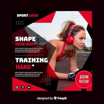 Sport flyer met afbeelding sjabloon