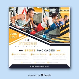 Sport folder met fotosjabloon