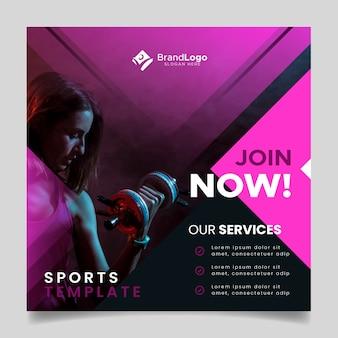 Sport folder sjabloon met afbeelding