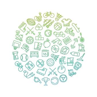 Sport gereedschap lijn pictogrammen in cirkel