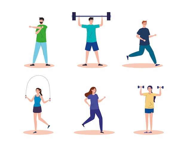 Sport, groepsmensen die sport beoefenen, gezonde levensstijl
