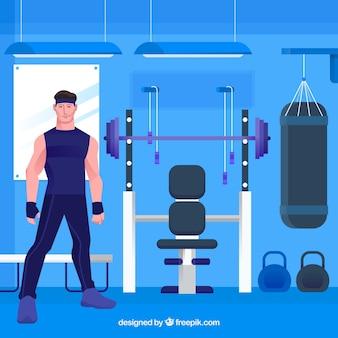 Sport gym achtergrond met mensen training