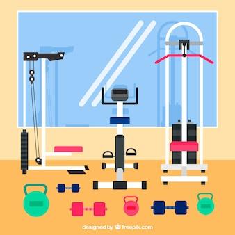 Sport gym achtergrond met oefeningen machines in vlakke stijl
