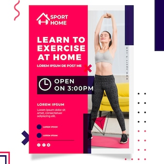 Sport huis poster sjabloon met foto