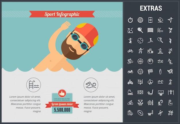 Sport infographic sjabloon, elementen en pictogrammen